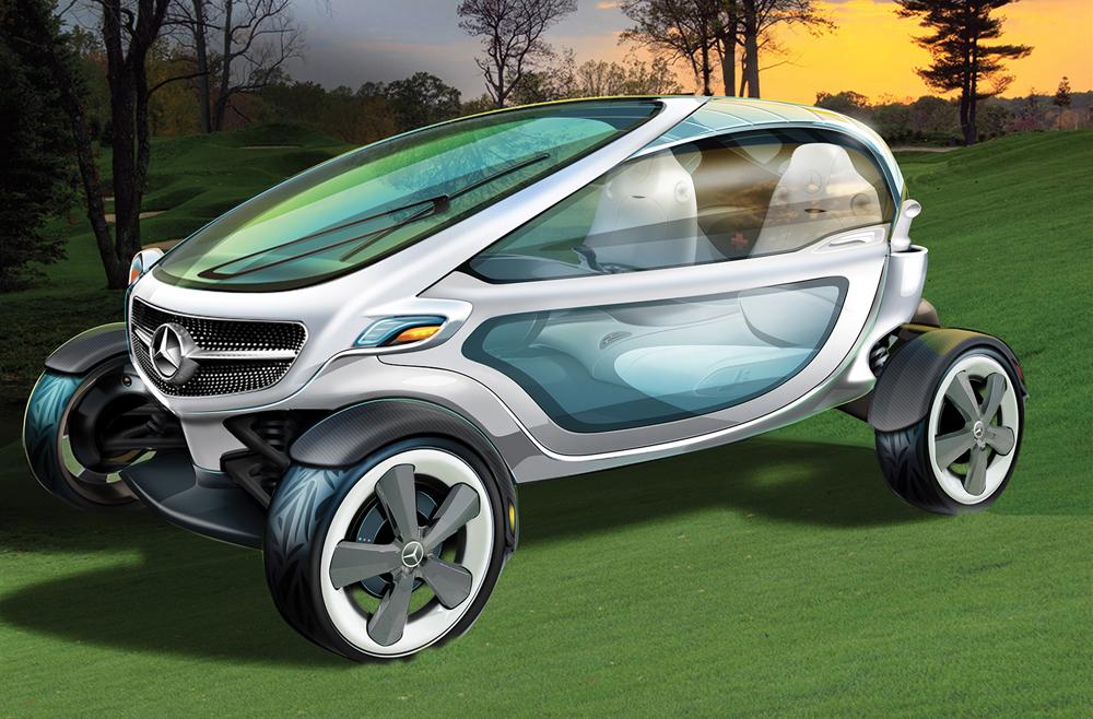 """Acest golf cart va putea fi omologat ca masina de strada, iar farurile LED dispun de functia de """"proiector"""", pentru partidele de golf jucate noaptea."""