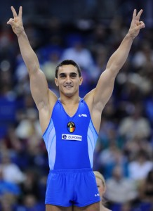 Gold medallist Romania's Marian Dragulescu celebrates after winning the vault event in the apparatus finals during the Artistic Gymnastics World Championships 2009 at the 02 Arena, in east London, on October 18, 2009. AFP PHOTO / Carl de Souza