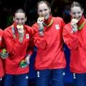 Echipa feminină de spadă a României a cucerit vineri, 12 august prima medalie olimpică pentru delegaţia tricoloră la această ediţie a Jocurilor Olimpice. Ana Maria Popescu, Simona Gherman, Simona Pop şi Loredana Dinu  au adus a patra medalie de aur pentru scrimă românească la o ediţie a JO şi prima într-o probă de echipe. Mai mult, această medalie este prima cucerită de o echipă feminină a României după o pauză de 20 de ani la competiţia olimpică, precedentă fiind obţinută în 1996, la Atlanta, de echipa de floreta feminin care a urcat pe treaptă a doua a podiumului.
