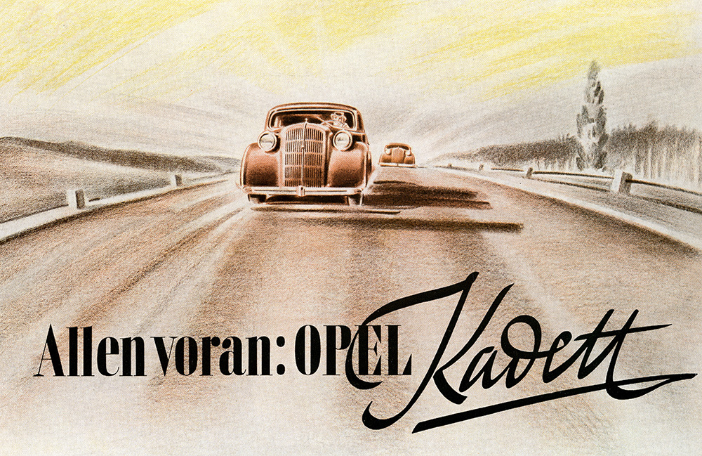 Opel led the way in the 1930s, especially with the innovative and revolutionary all-steel unitary body construction.