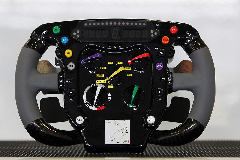 Force India F1 Team steering wheel. Formula One World Championship, Rd 9, British Grand Prix, Qualifying Day, Silverstone, England, Saturday 9 July 2011.
